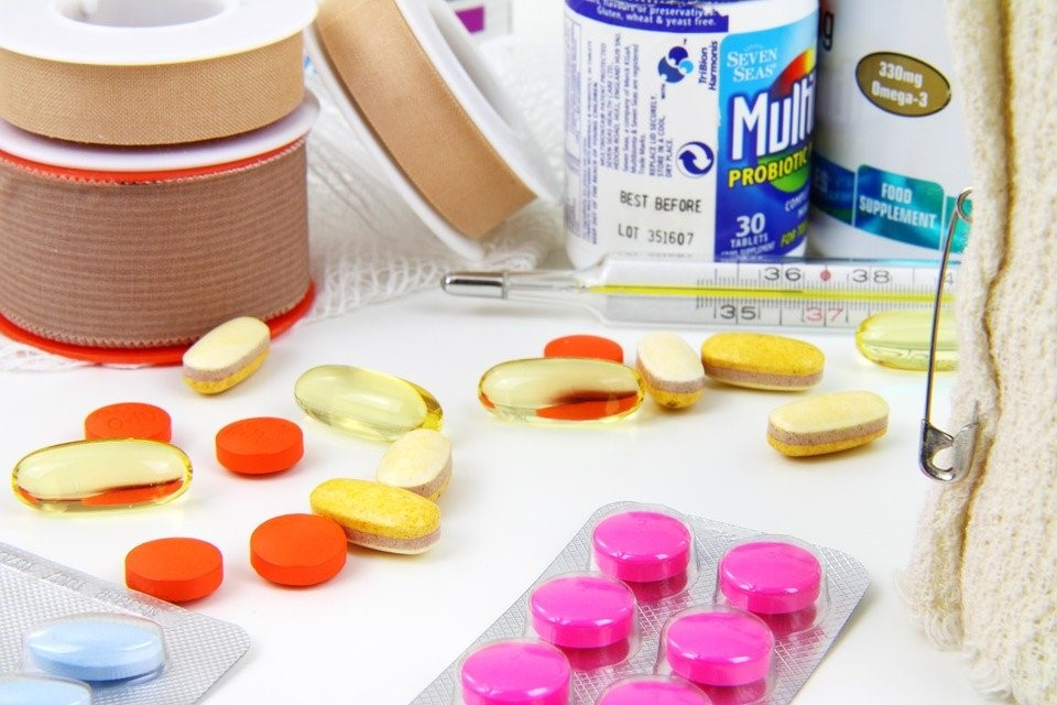 Assortment of packaged drugs and medication